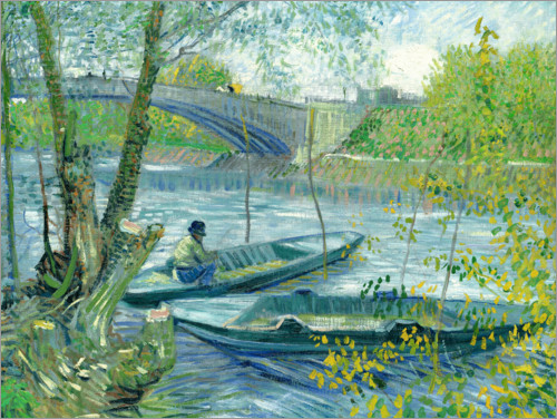 Premium-plakat Angler and boat at the Pont de Clichy