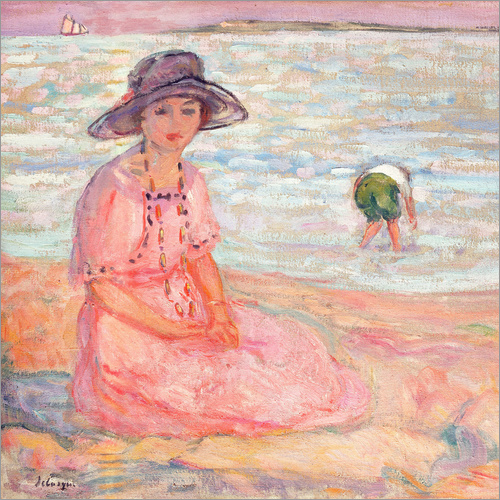 Selvklæbende plakat Woman in the Pink Dress by the Sea