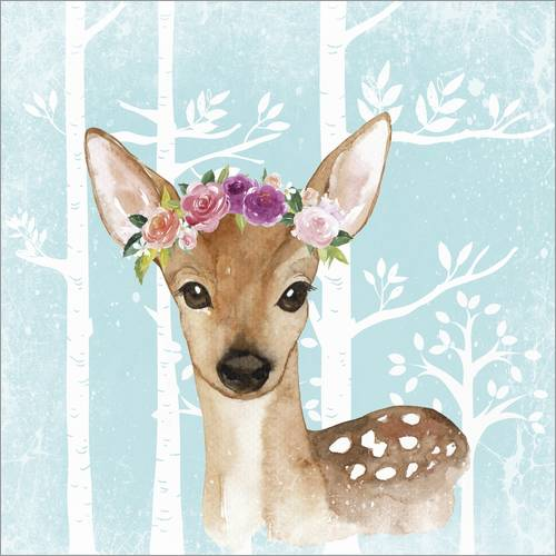 Selvklæbende plakat Glamorous fawn with blossoms in the blue forest