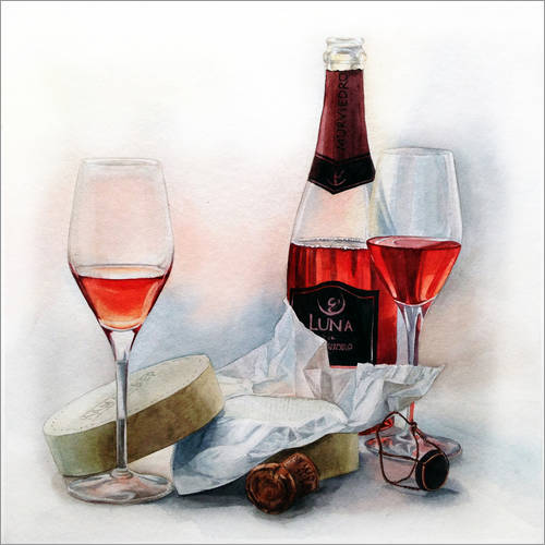 Selvklæbende plakat Wine and cheese watercolor painting