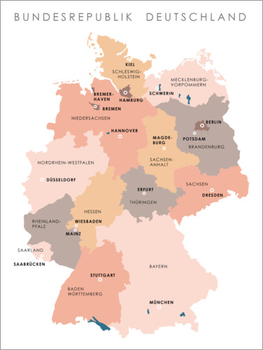 Premium-plakat Federal states and capital cities of the federal republic of Germany