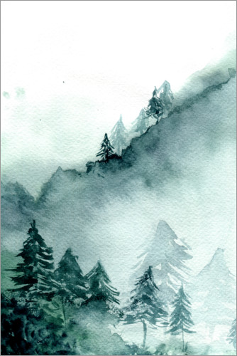 Premium-plakat Abstract Forest in Mountains