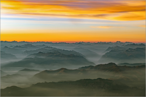 Premium-plakat Morning mist in the swiss alps 2