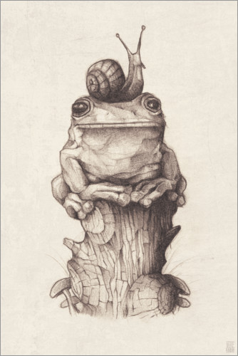 Premium-plakat The frog and the snail, vintage