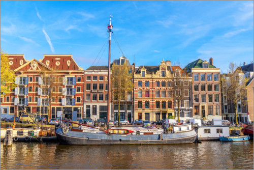 Premium-plakat Amsterdam canal with boats