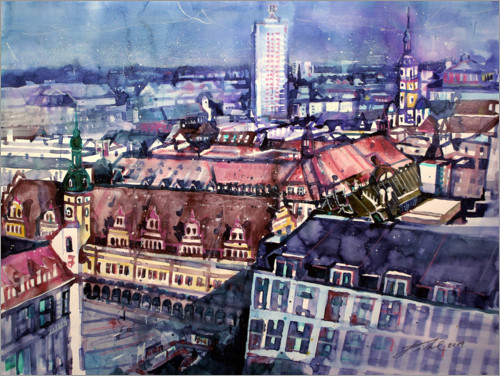 Premium-plakat Old Town Hall and winter garden high-rise, Leipzig