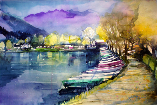 Premium-plakat Fishing boats in autumn, Zell am See