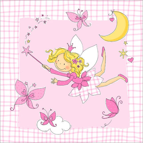 Selvklæbende plakat flying fairy with butterflies on checkered background