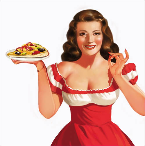 Selvklæbende plakat the girl with a pizza
