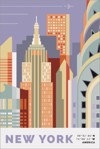 Selvklæbende plakat new york skyline