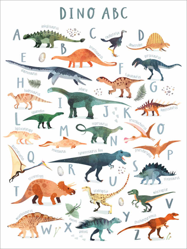 Premium-plakat Happy Dinosaur ABC