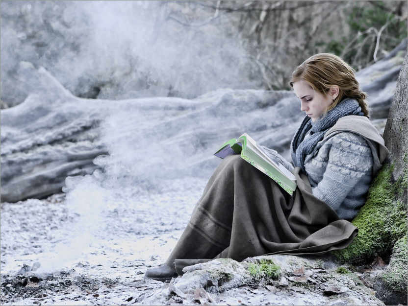 Premium-plakat The Deathly Hallows I - Hermione with her book