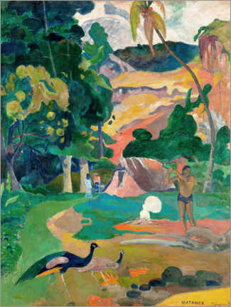 Selvklæbende plakat  Landscape with peacocks - Paul Gauguin