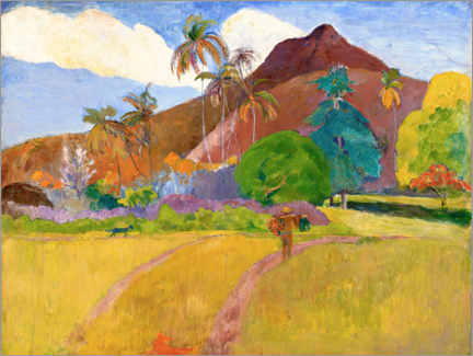 Galleritryk  Tahitian landscape with mountains - Paul Gauguin