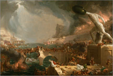 Print på aluminium  The Course of Empire - Destruction - Thomas Cole