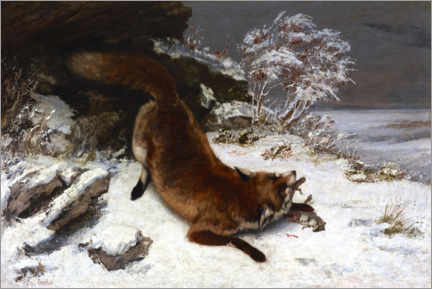 Print på aluminium  The Fox in the Snow - Gustave Courbet