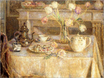 Akrylbillede  The white tablecloth - Henri Le Sidaner