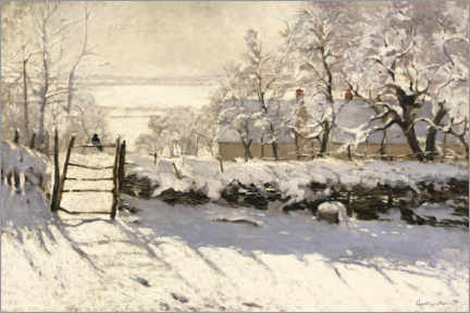 Lærredsbillede  The Magpie - Claude Monet