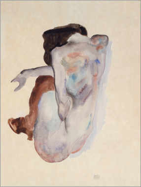 Akrylbillede  Crouching Nude in Shoes and Black Stockings, Back View - Egon Schiele