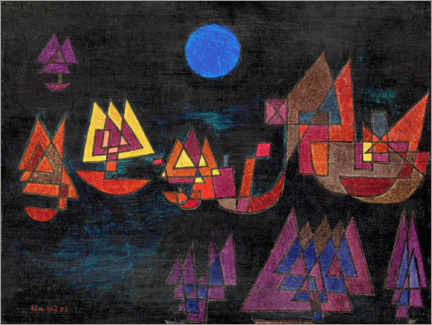Print på træ  Ships in the dark - Paul Klee