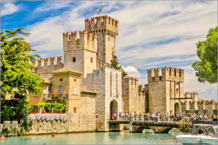 Akrylbillede  The Scaliger Castle in Sirmione, Italy