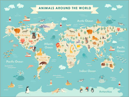Lærredsbillede  Map of the world with animals - Kidz Collection