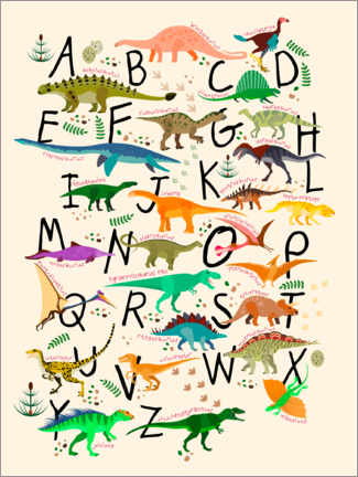 Print på træ  Dino Alphabet - Kidz Collection