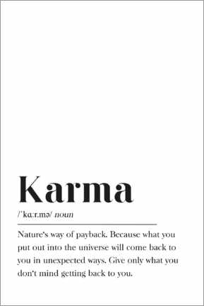 Print på skumplade  Karma Definition (engelsk) - Pulse of Art