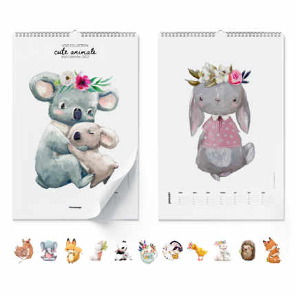 Vægkalender  Cute Animals 2021