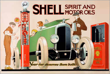 Akrylbillede  Shell, spirit and motor oils - Rene Vincent