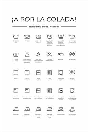 Selvklæbende plakat  Washing and care symbols (Spanish)