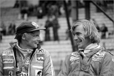 Premium-plakat  Niki Lauda and James Hunt, Formula 1 GP, Belgium 1977