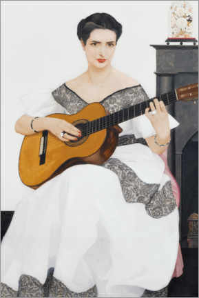 Selvklæbende plakat  Delfina playing the guitar - Bernard Boutet de Monvel
