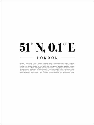 Akrylbillede  Coordinates - London - Finlay and Noa