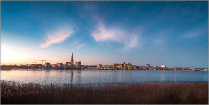 Akrylbillede  Rostock skyline at dusk - Dirk Petersen