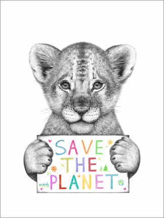 Selvklæbende plakat  Lion cub save the planet - Valeriya Korenkova