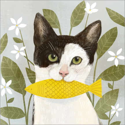 Akrylbillede  Pretty cat with fish - Victoria Borges