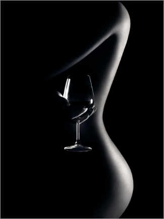 Akrylbillede  Nude with wine glass - Johan Swanepoel