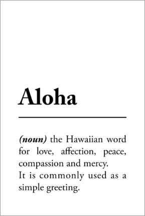 Print på træ  Aloha definition - Typobox