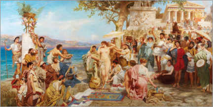 Lærredsbillede  Phryne at the festival of Poseidon in Eleusis - Henryk  Siemiradzki