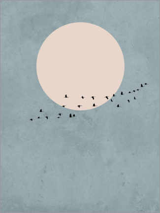Premium-plakat  Bird migration to full moon - Finlay and Noa