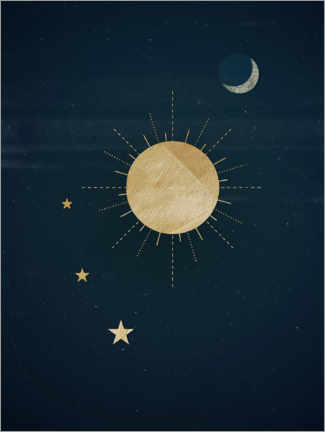 Premium-plakat Sun, moon and stars