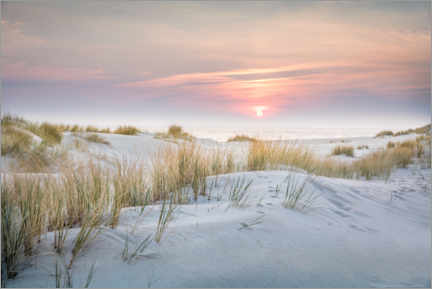 Lærredsbillede  Sunrise in the dunes on Sylt - Christian Müringer