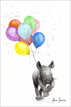 Lærredsbillede  The Rhino and The Balloons - Ashvin Harrison