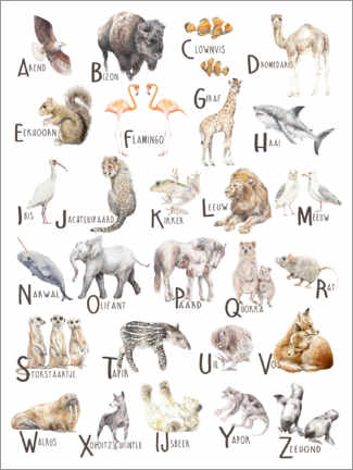 Galleritryk  Animals A to Z Alphabet (Dutch) - Wandering Laur