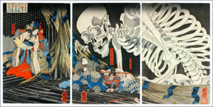 Print på skumplade  Takiyasha the Witch and the Skeleton Spectre - Utagawa Kuniyoshi