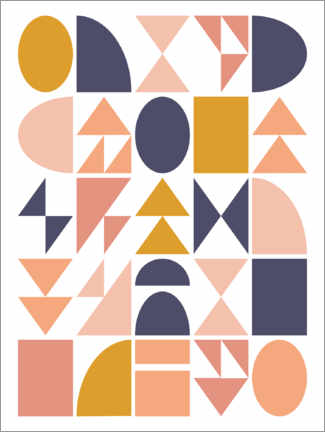Akrylbillede  Geometric shapes - apricot and birch