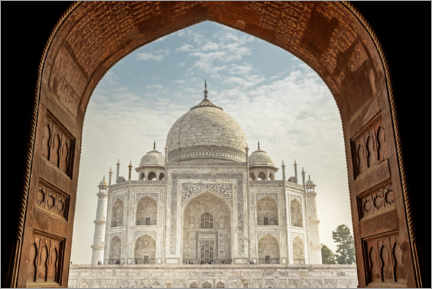 Lærredsbillede  View from the mosque to the Taj Mahal - Thomas Herzog
