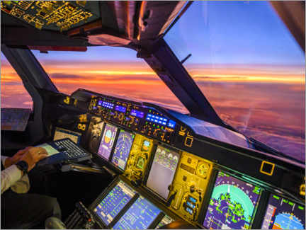 Akrylbillede  A380 cockpit at dusk - Ulrich Beinert