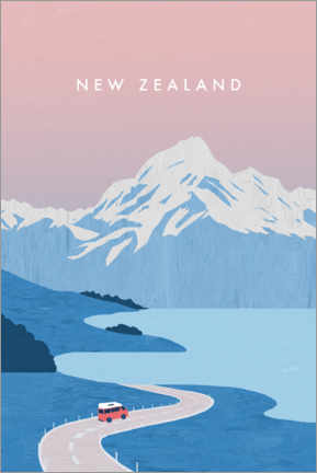 Print på aluminium  New Zealand illustration - Katinka Reinke
